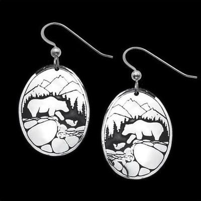 Fishing Bears Sterling Silver Earrings |  Metal Arts Group Jewelry | MAG20202