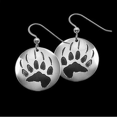 Bear Trax Sterling Silver Earrings   Nature Jewelry