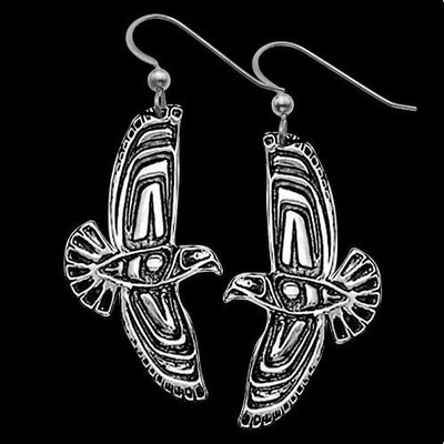 Eagle Soaring Tribal Sterling Silver Earrings | Nature Jewelry