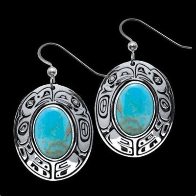 Raven Eagle Turquoise Tribal Earrings | Nature Jewelry