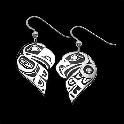 Eagle Raven Split Sterling Silver Earrings | Nature Jewelry