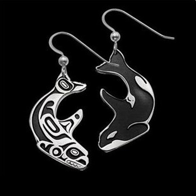 Double Whale Sterling Silver Earrings | Nature Jewelry
