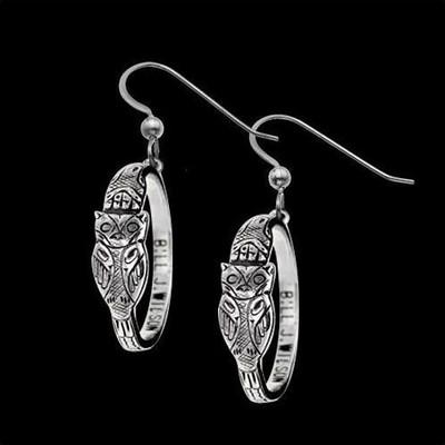 Owl Sterling Silver Hoop Earrings | Nature Jewelry