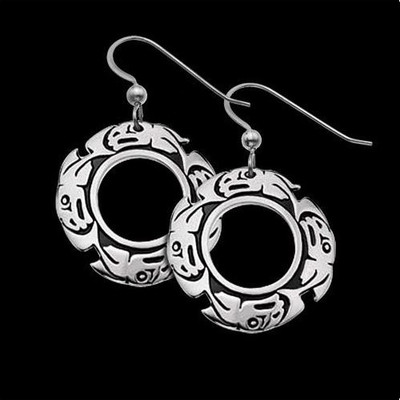 Salmon Tribal Sterling Silver Earrings | Nature Jewelry