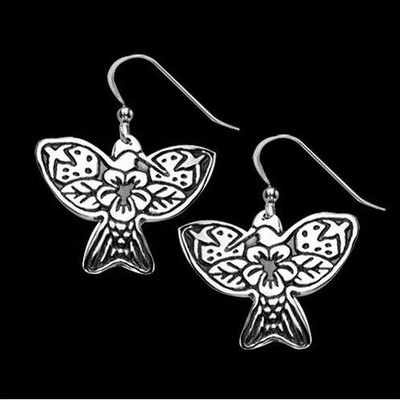 Hummingbird Tribal Sterling Silver Earrings | Nature Jewelry