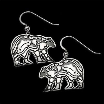 Bear Sterling Silver Earrings   Nature Jewelry