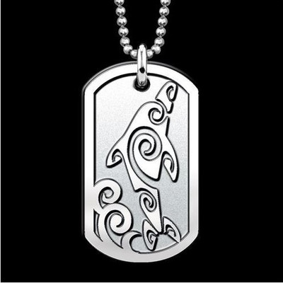 Dolphin Dog Tag Pendant Necklace by Michael Glass | Nature Jewelry