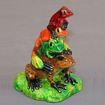 """Frog Bronze Sculpture """"All Stacked Up"""""""