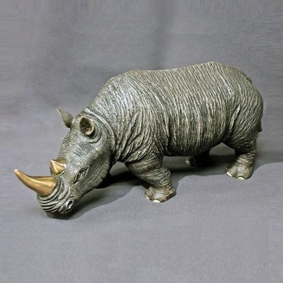Rhino Bronze Sculpture White