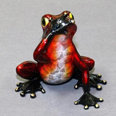 """Frog Bronze Sculpture """"Speak No Evil"""""""