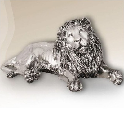 Silver Plated Reclining Lion Sculpture | 7502