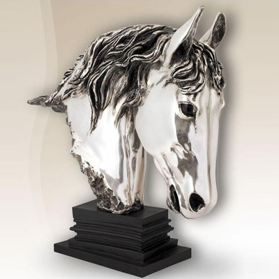 Horse Head Silver Plated Sculpture | 8009
