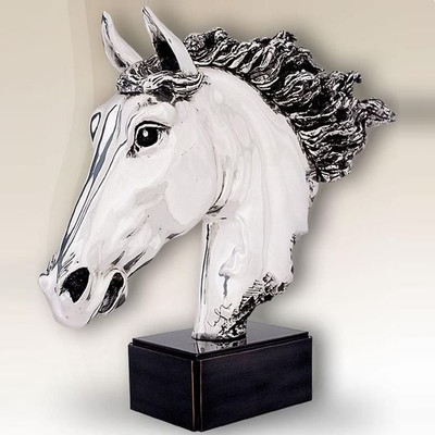 Horse Head Silver Plated Sculpture | 8015