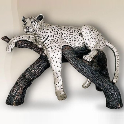 Leopard on Branch Large Silver Plated Sculpture | 8016