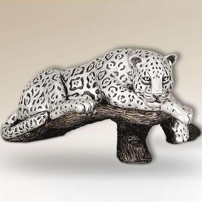 Jaguar on Branch Silver Plated Sculpture | 8018
