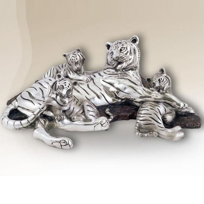 Tiger Mom-Cubs Silver Plated Sculpture | 8022