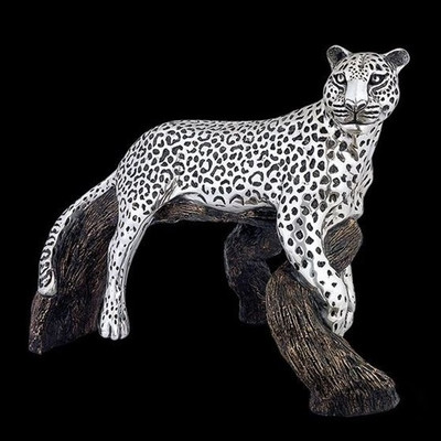 Leopard on Branch Silver Plated Sculpture | 8024
