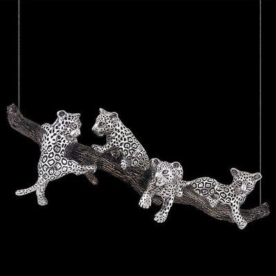 Jaguar Cubs Hanging Silver Plated Sculpture | 8025