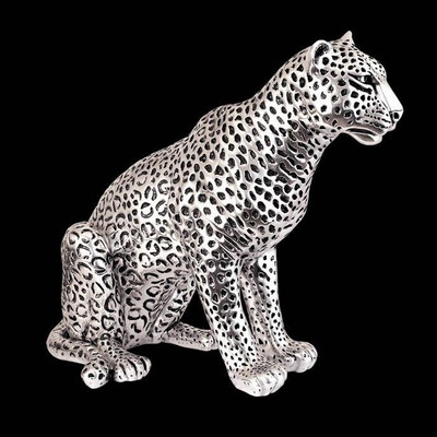 Leopard Sitting Silver Plated Sculpture | 8034
