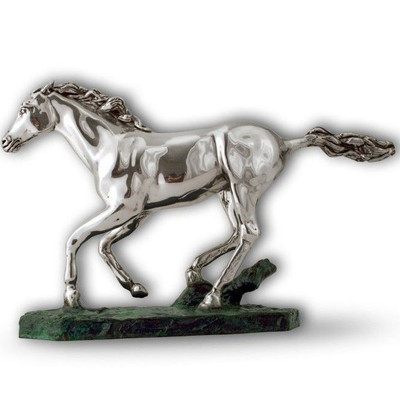 Horse Running Silver Plated Sculpture | A38
