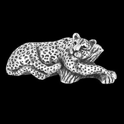 Leopard Reclingin Silver Plated Sculpture | A501