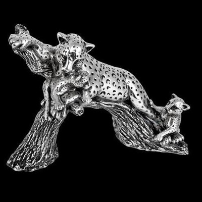 Leopard and Cubs Silver Plated Sculpture | A504