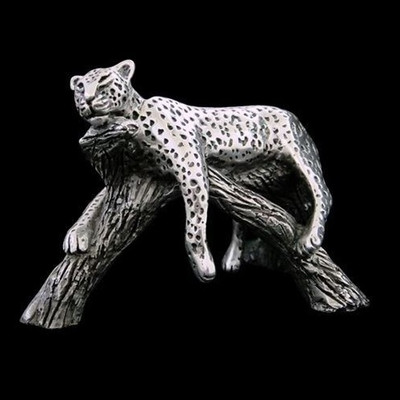 Leopard Resting on Branch Silver Plated Sculpture | A506