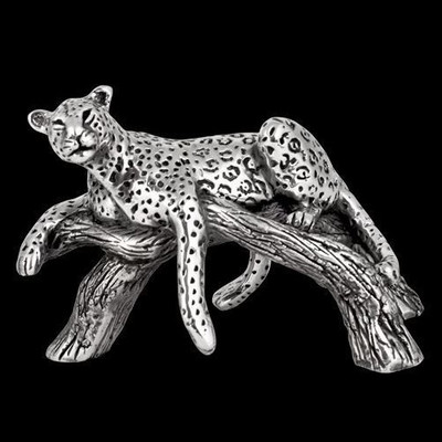 Leopard Laying on Branch Silver Plated Sculpture | A508