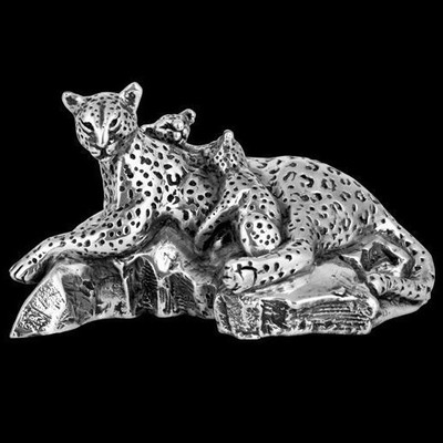 Leopard and Cubs Silver Plated Sculpture | A509