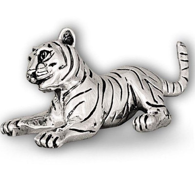 Silver Tiger Cub Sculpture Playing  | A51