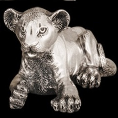 Silver Lion Cub Laying Sculpture | A57