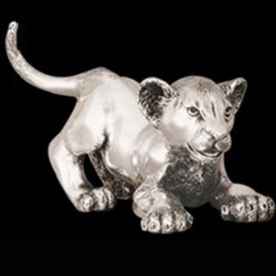 Silver Lion Cub Playing Sculpture | A58