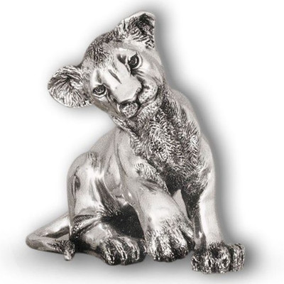Lion Cub Sitting Silver Plated Sculpture   A59