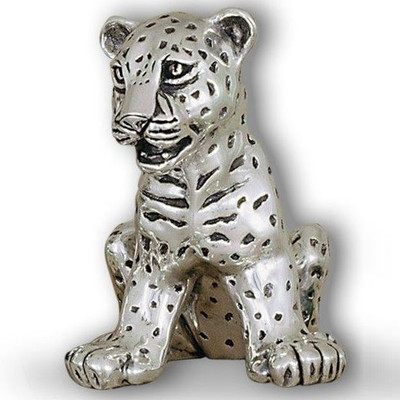 Leopard Cub Sitting Silver Plated Sculpture | A62