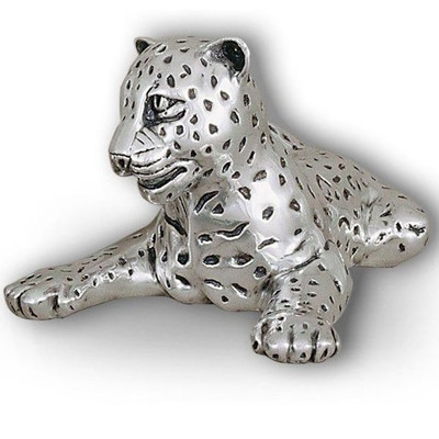 Leopard Reclining Silver Plated Sculpture | A63