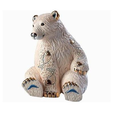 Polar Bear with Fish Ceramic Figurine | Rinconada