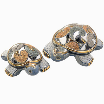 Galapagos Turtle and Baby Ceramic Figurine Set | Rinconada