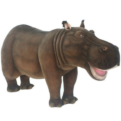 Hippo Ride-On Plush Animal Statue