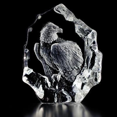Bald Eagle Perched Crystal Sculpture | 33574