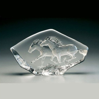 Horses Running Crystal Sculpture | 33716