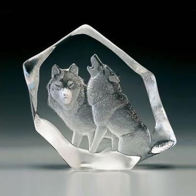 Wolf Pair Crystal Sculpture | 33723