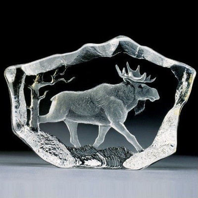Moose Stride Crystal Sculpture   33747