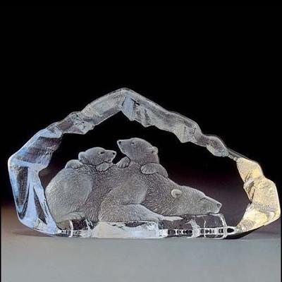 Polar Bear Family Crystal Sculpture | 33807