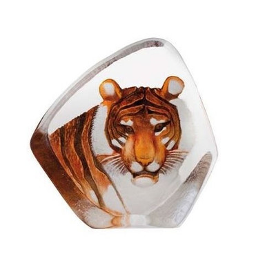 Tiger Head Color Crystal Sculpture | 33861