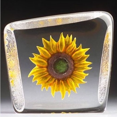 Yellow Sunflower Crystal Sculpture | 33869 | Mats Jonasson Maleras