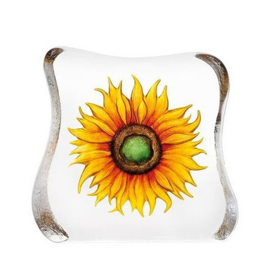 Yellow Sunflower Crystal Sculpture | 33885 | Mats Jonasson Maleras