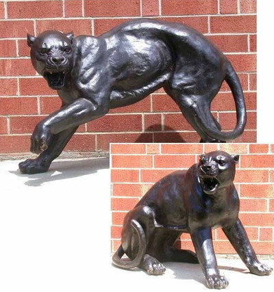 Panther Fighting Pair Bronze Outdoor Statues