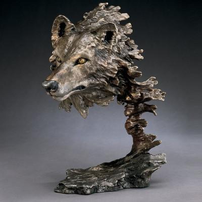 """Wolf Bronze Sculpture """"Wild Wind"""""""