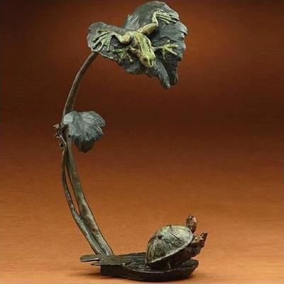 "Bronze Frog and Turtle Sculpture ""Creature Comforts"""