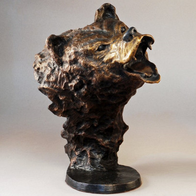 "Bear Bronze Large Sculpture ""Grizzly"""